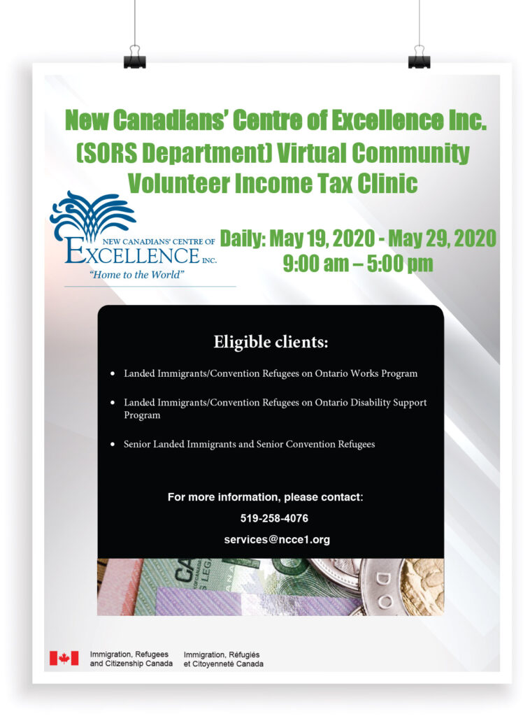 New Canadians' Centre of Excellence Inc. Virtual Community Volunteer Income Tax Clinic
