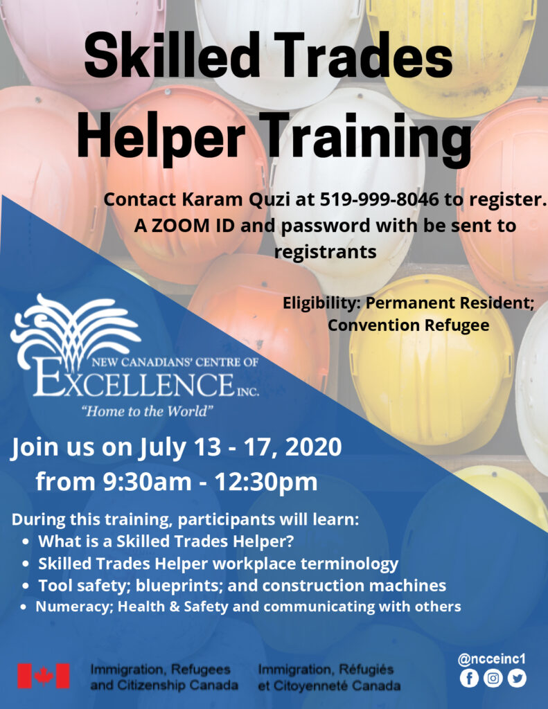 Skilled Trades Helper Training for Low Language Learners – 5 sessions (Arabic)