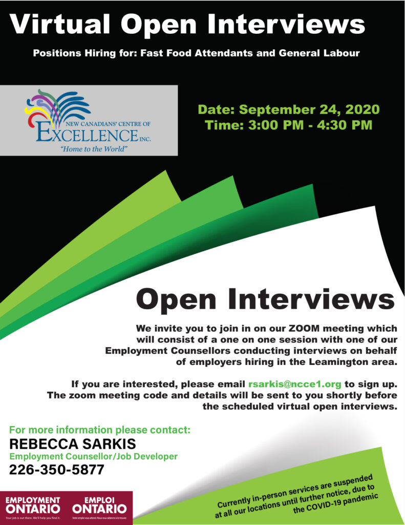 Employment Ontario: Virtual Open Interviews - Fast Food Attendants and General Labour Positions