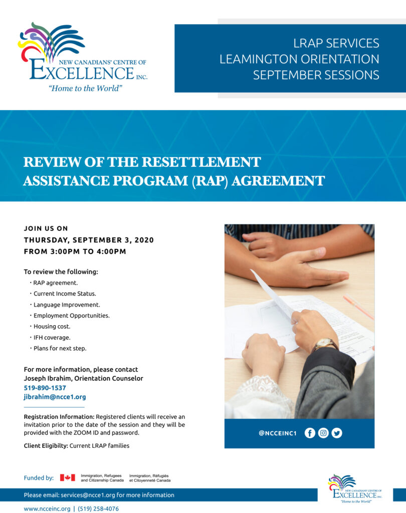 Review of the Resettlement Assistance Program (RAP) Agreement