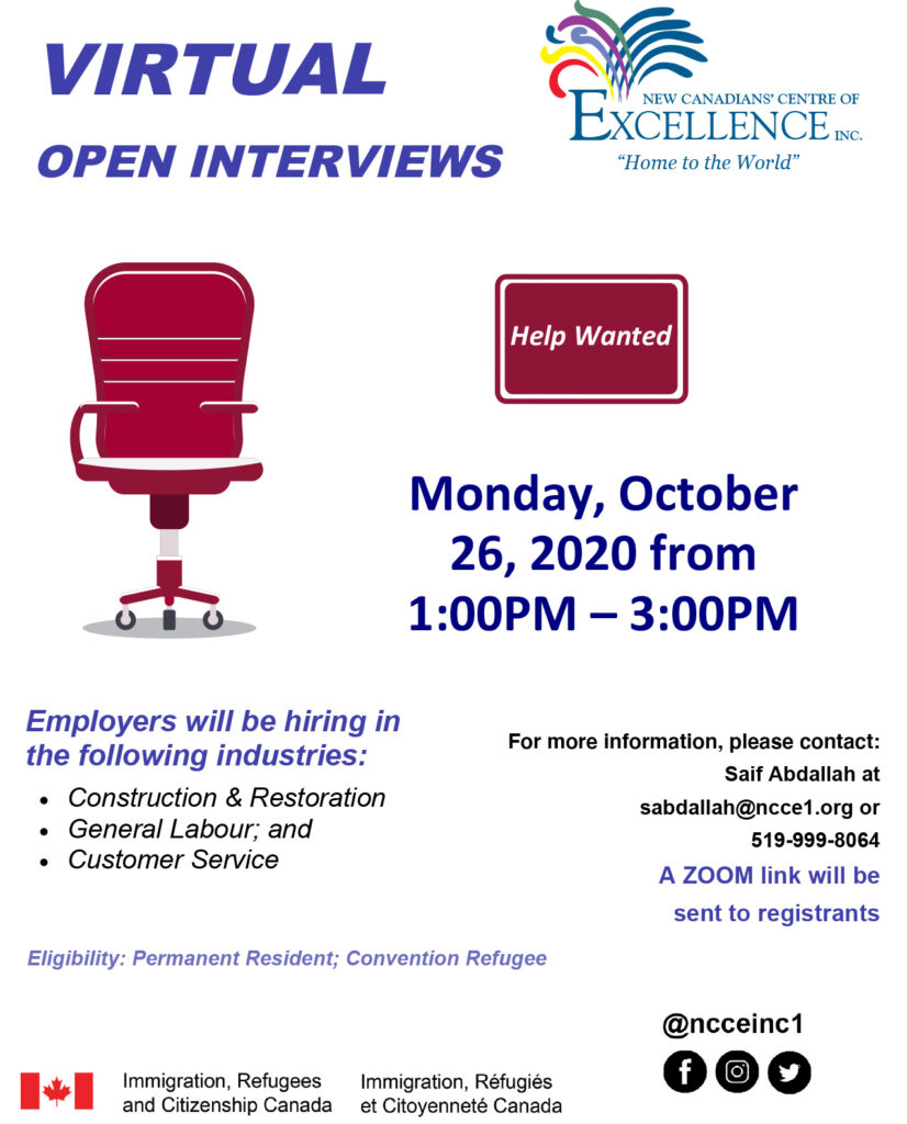 Virtual Open Interviews - October 26, 2020
