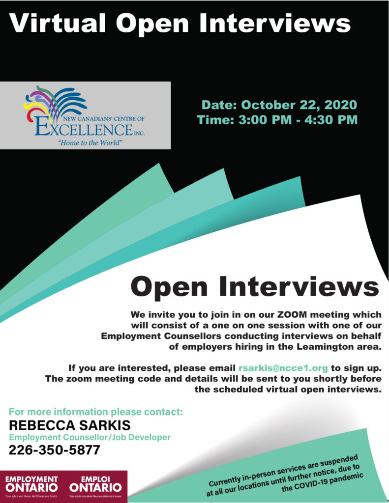 Virtual Open Interviews - October 22, 2020