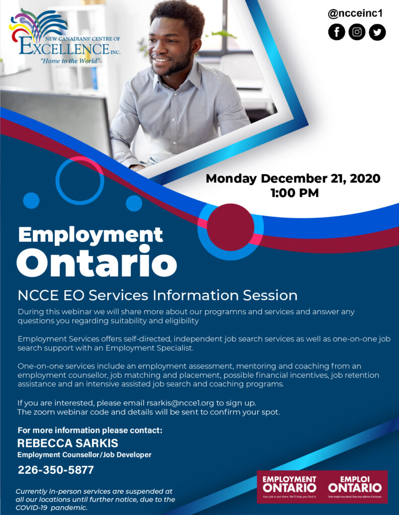 Employment Ontario Services - Dec 21 2020