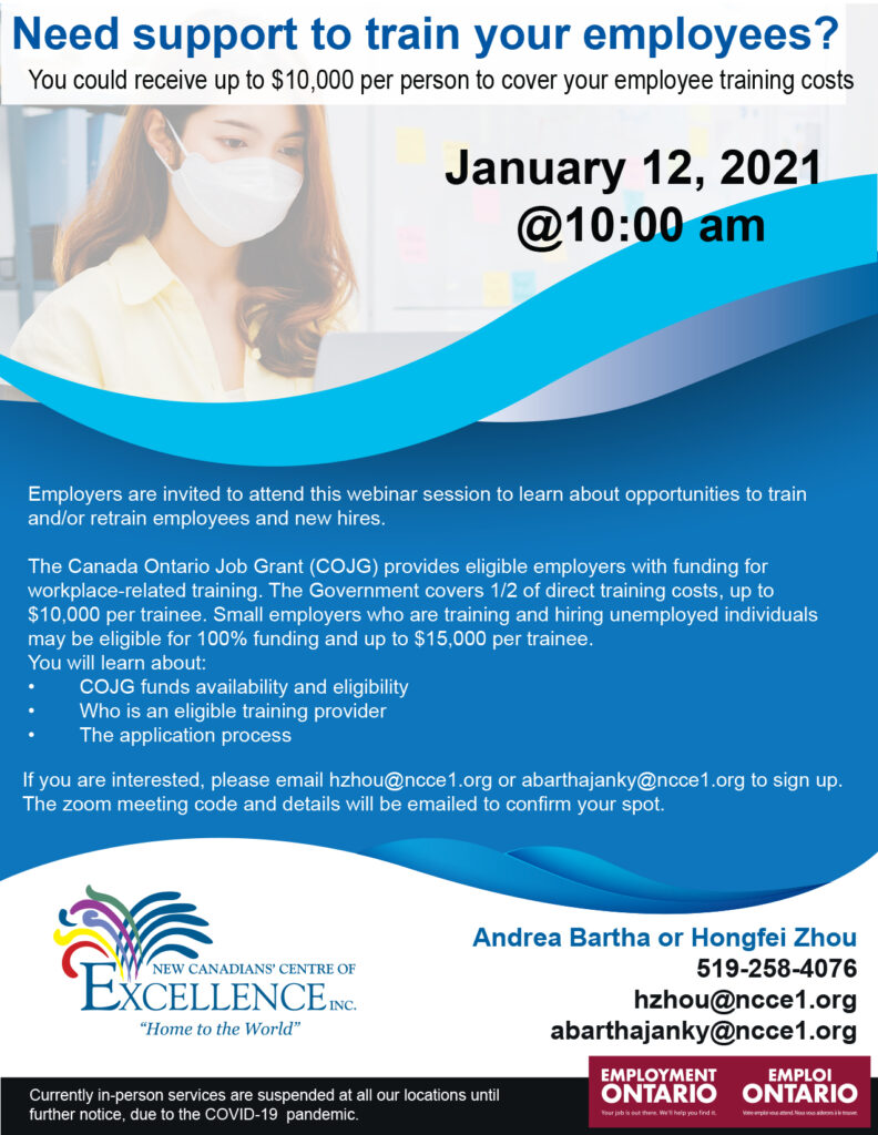 Canada Ontario Job Grant (COJG) Webinar