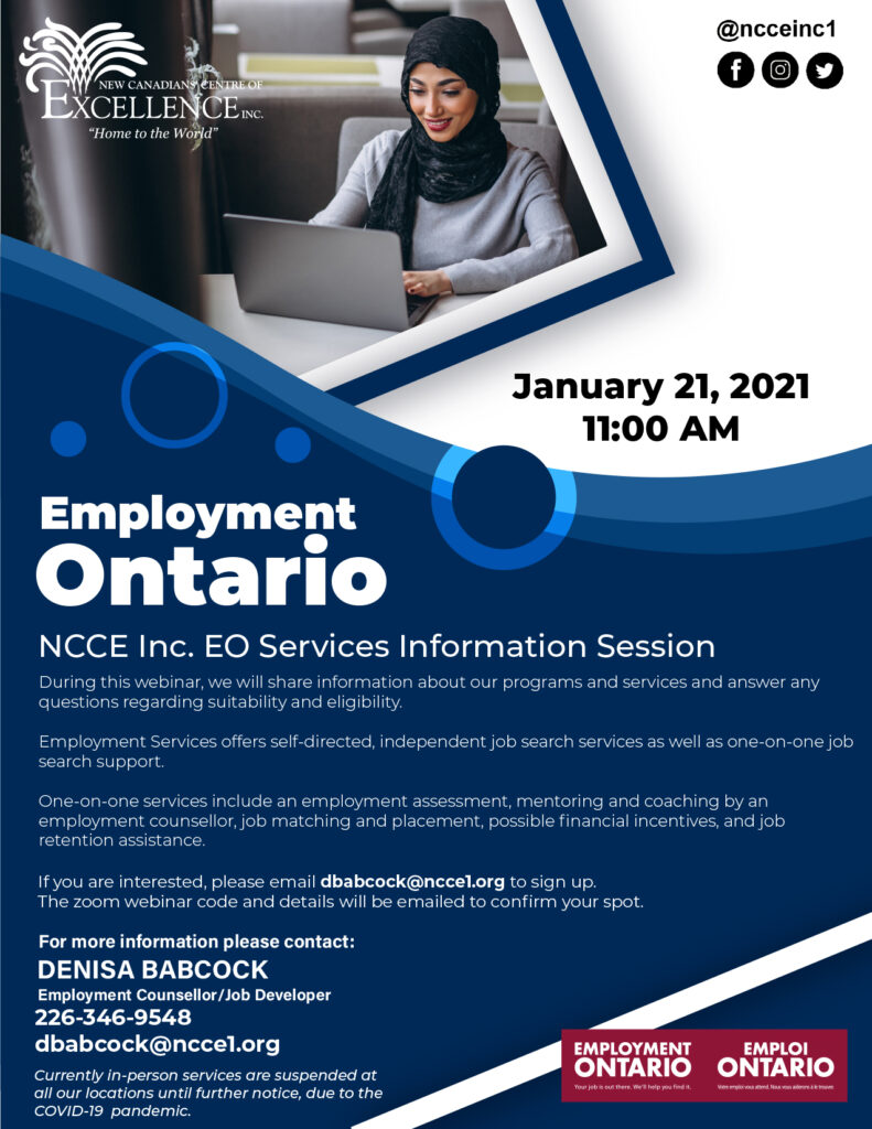 NCCE Inc. Employment Ontario Services Information Session