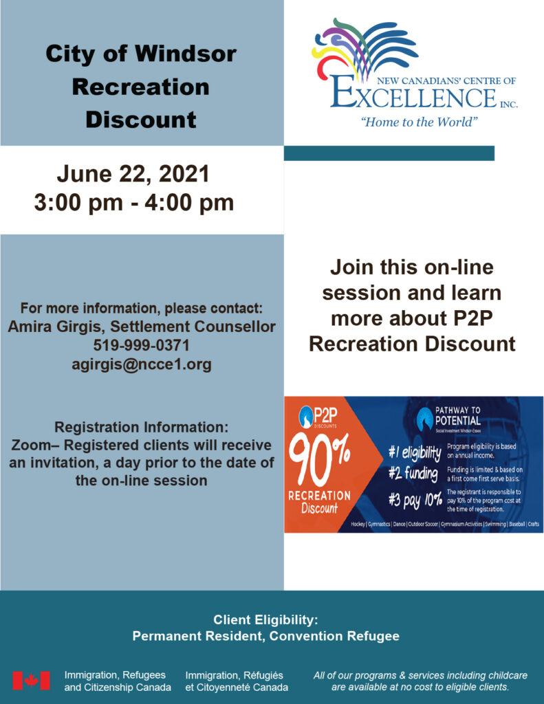 City of Windsor Recreation Discount