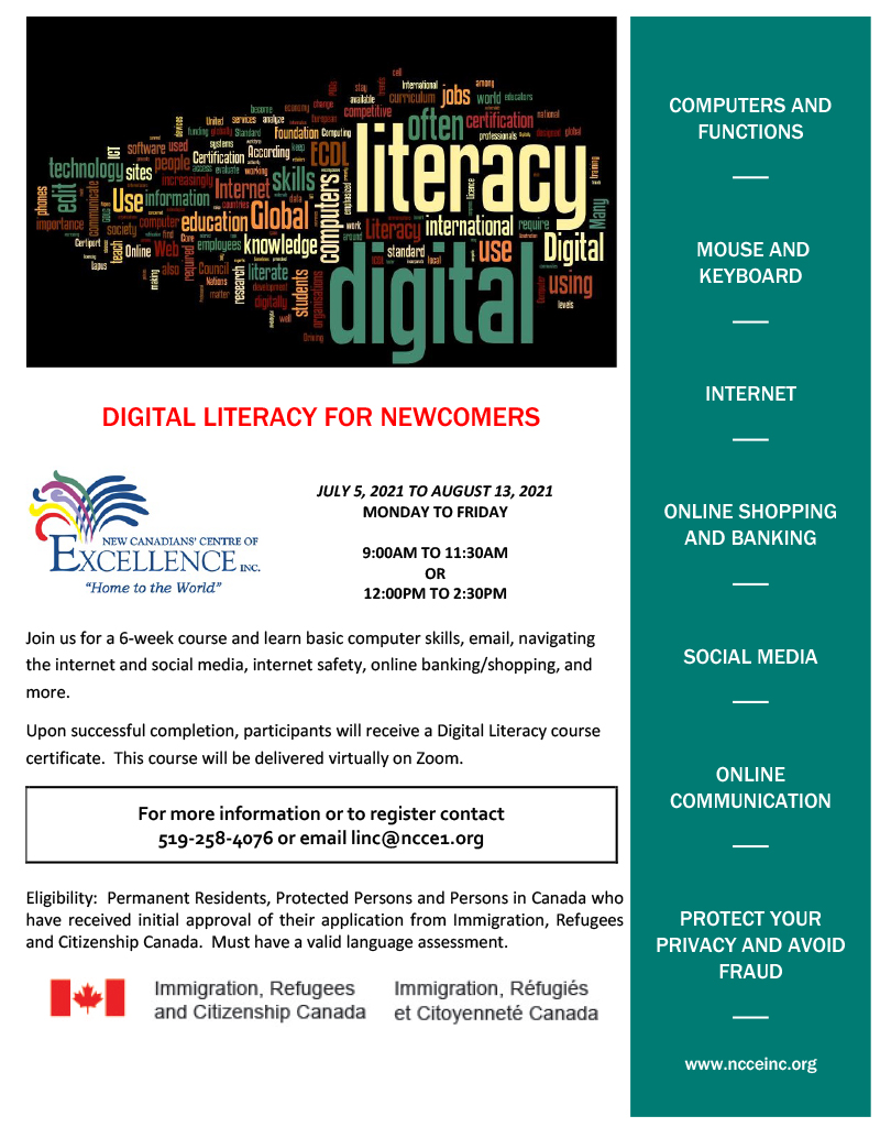 DIGITAL LITERACY FOR NEWCOMERS @ Virtual