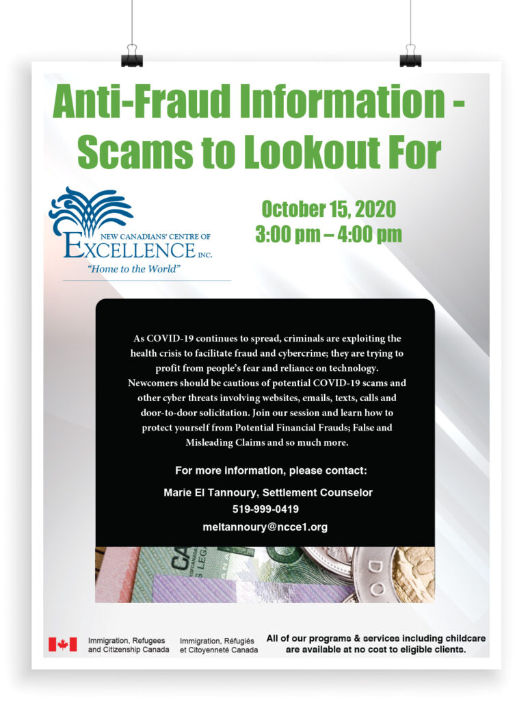 Anti-Fraud Information - Scams to Lookout For