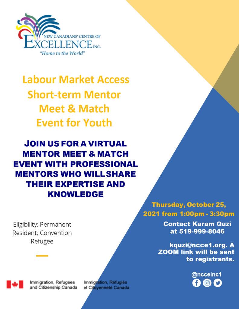 Labour Market Access Short-Term Mentor Meet & Match Event for Youth